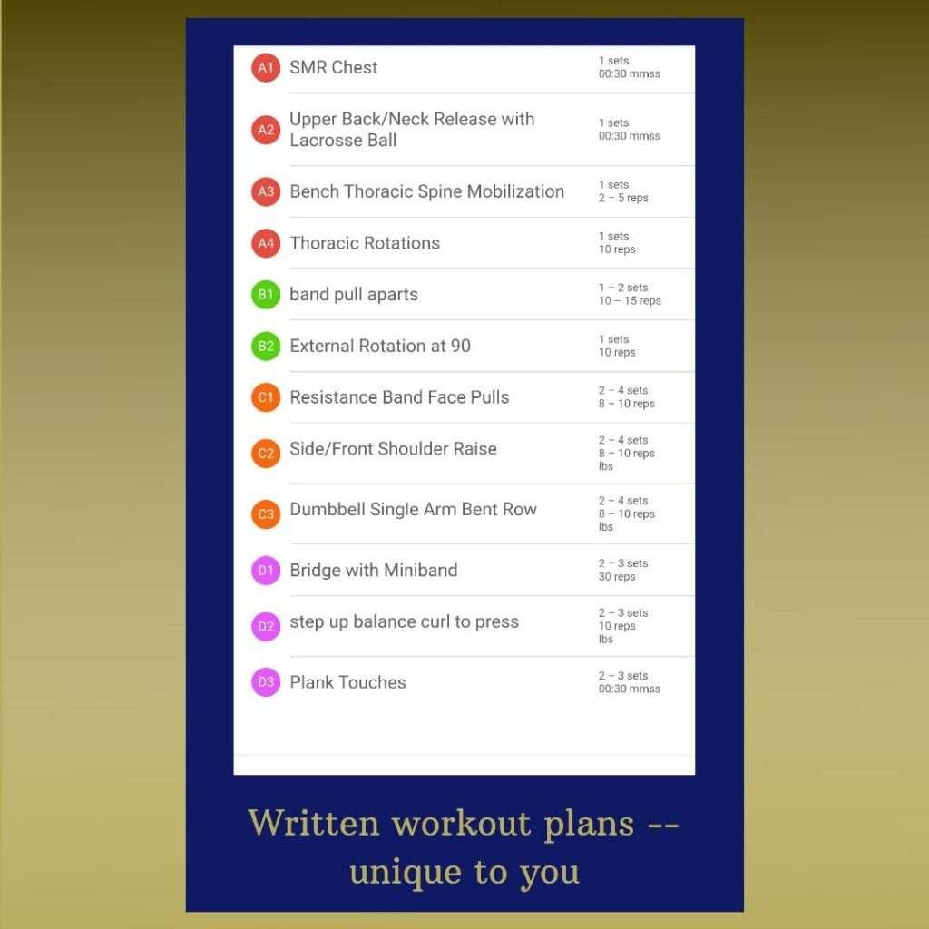 written workout sample